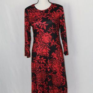 #0125     NWOT Black & Red Floral Dress
